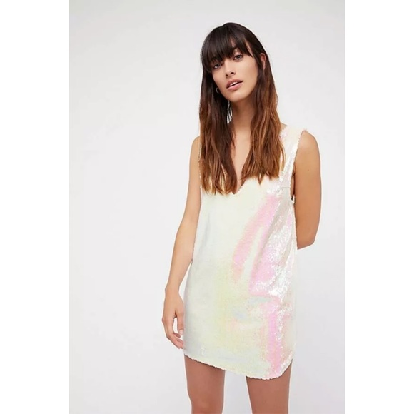 Free People Dresses & Skirts - INTIMATELY FREE PEOPLE WHITE SEQUIN SLIP DRESS S